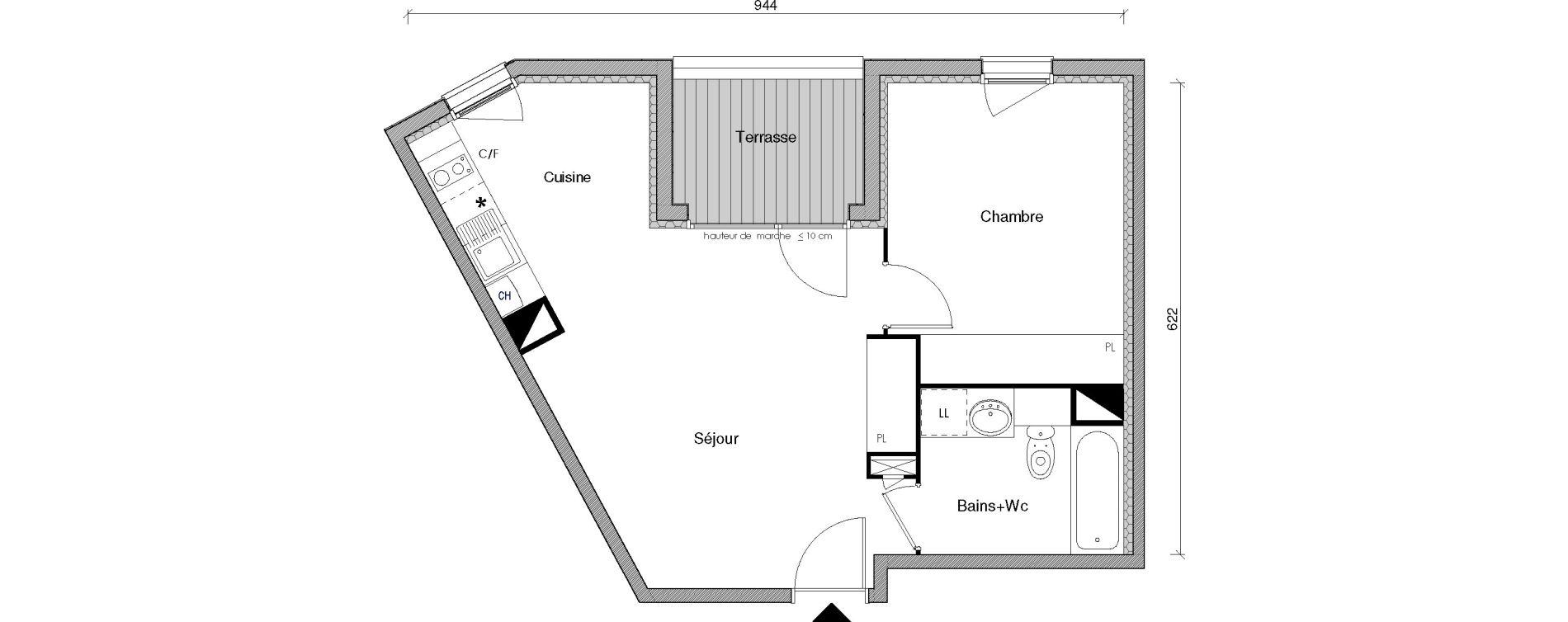 Appartement T2 de 44,09 m2 à Castanet-Tolosan Centre