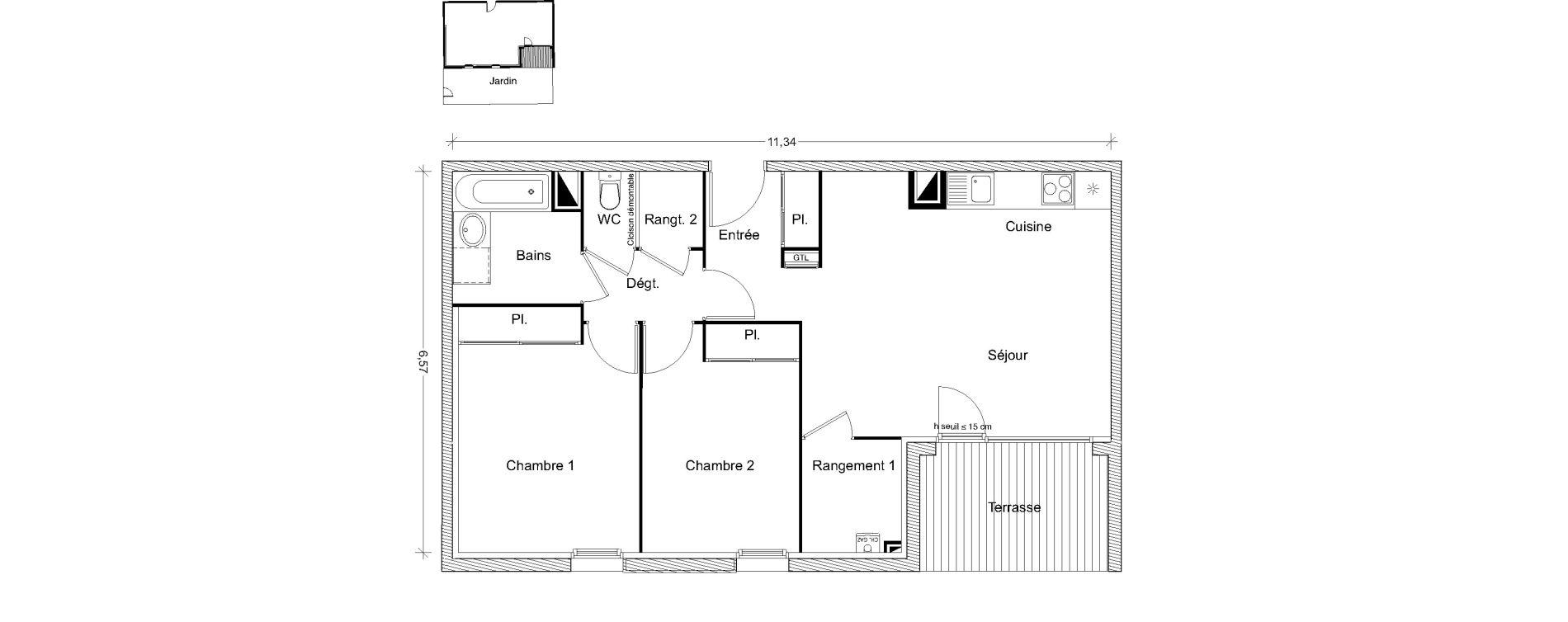 Appartement T3 de 64,22 m2 à Castanet-Tolosan Centre
