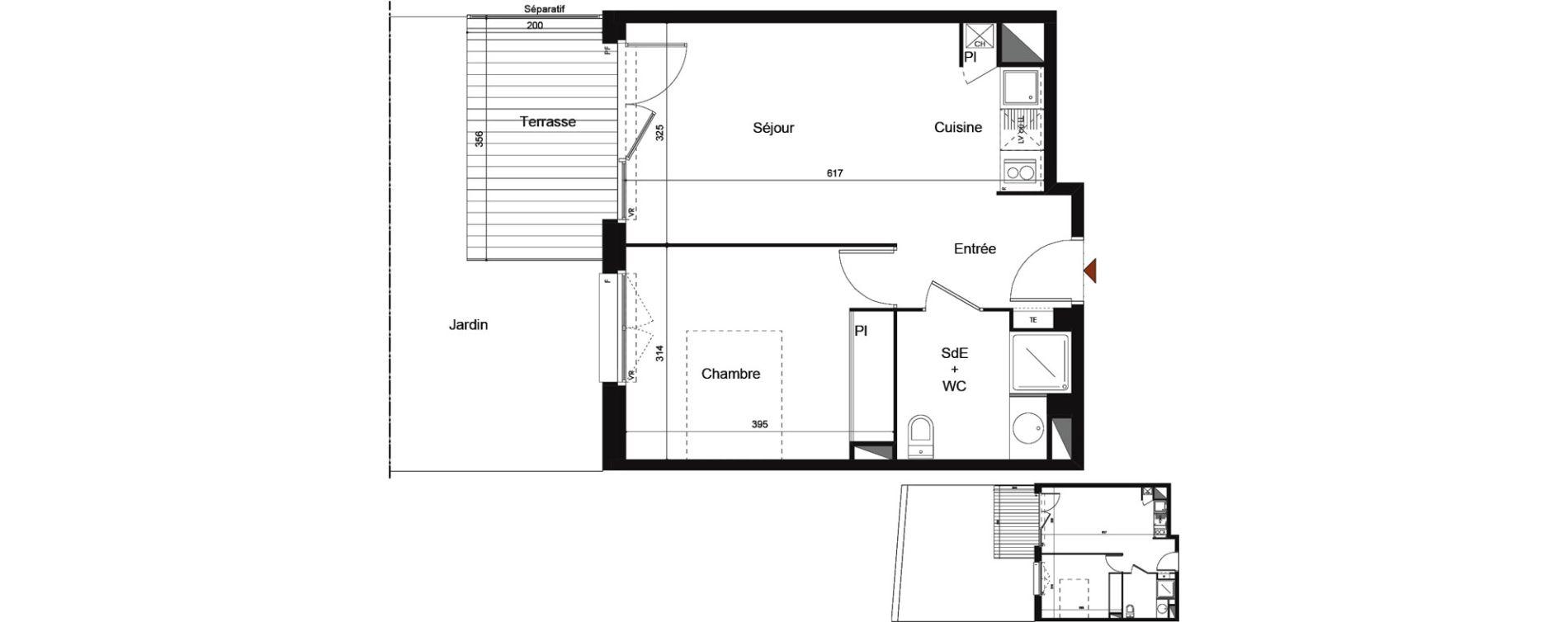Appartement T2 de 39,46 m2 à Castanet-Tolosan Centre