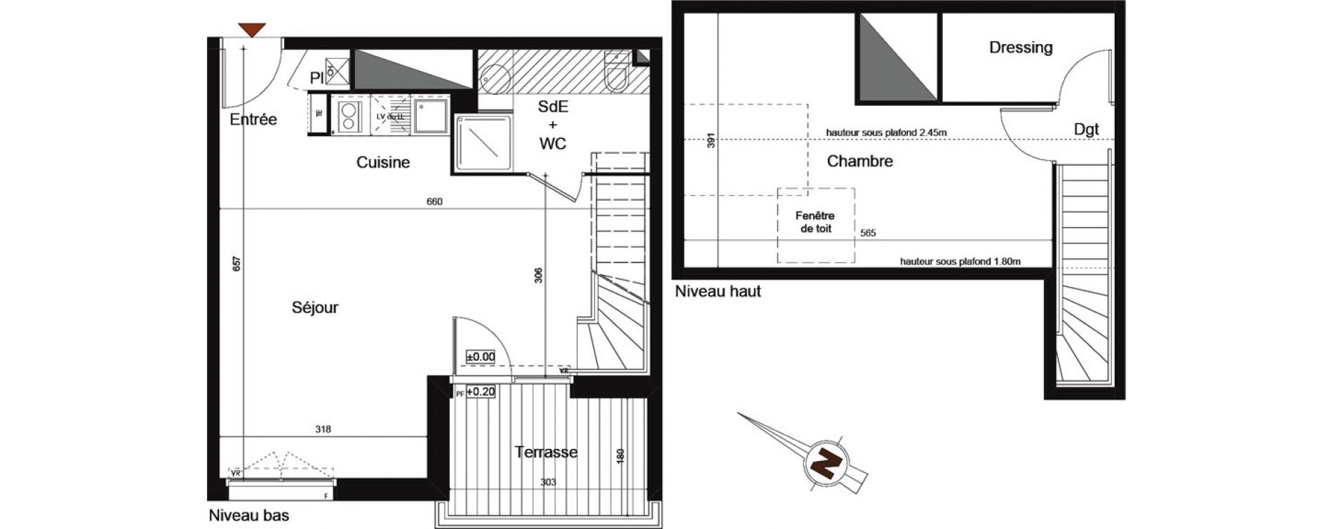 Duplex T2 de 55,59 m2 à Castanet-Tolosan Centre