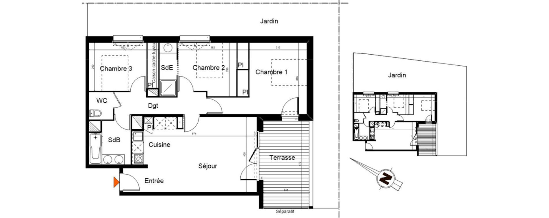 Appartement T4 de 76,43 m2 à Castanet-Tolosan Centre