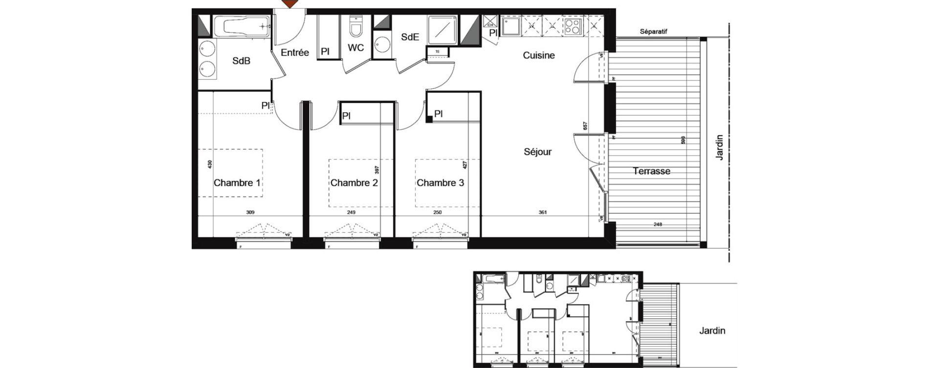 Appartement T4 de 74,97 m2 à Castanet-Tolosan Centre