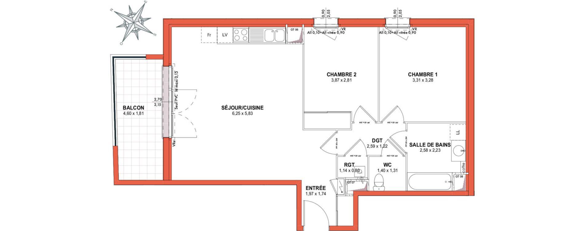 Appartement T3 de 67,65 m2 à Castanet-Tolosan Centre