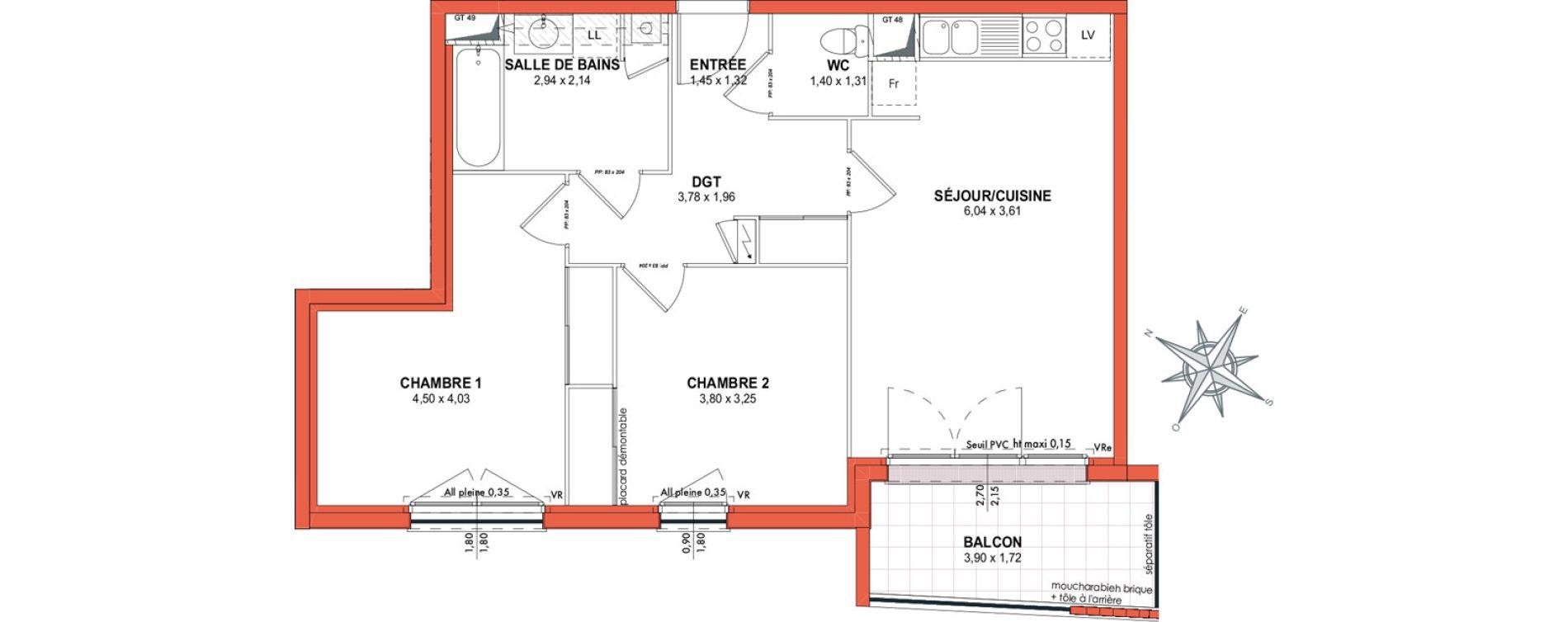 Appartement T3 de 60,90 m2 à Castanet-Tolosan Centre
