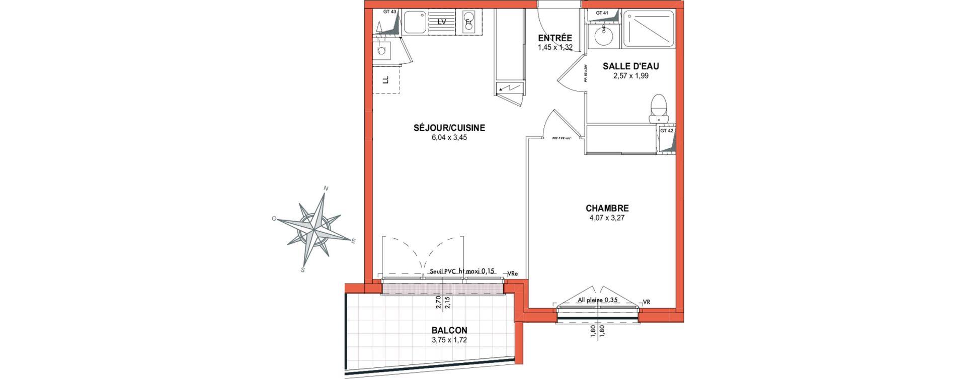 Appartement T2 de 41,34 m2 à Castanet-Tolosan Centre