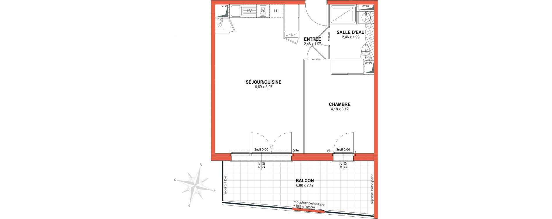 Appartement T2 de 46,04 m2 à Castanet-Tolosan Centre