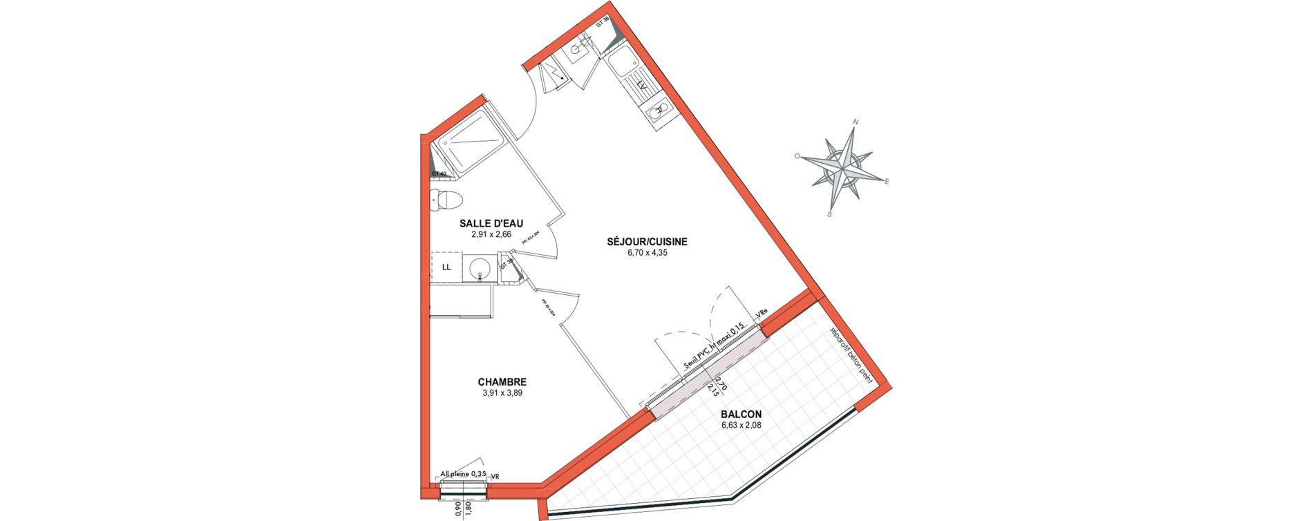 Appartement T2 de 42,31 m2 à Castanet-Tolosan Centre