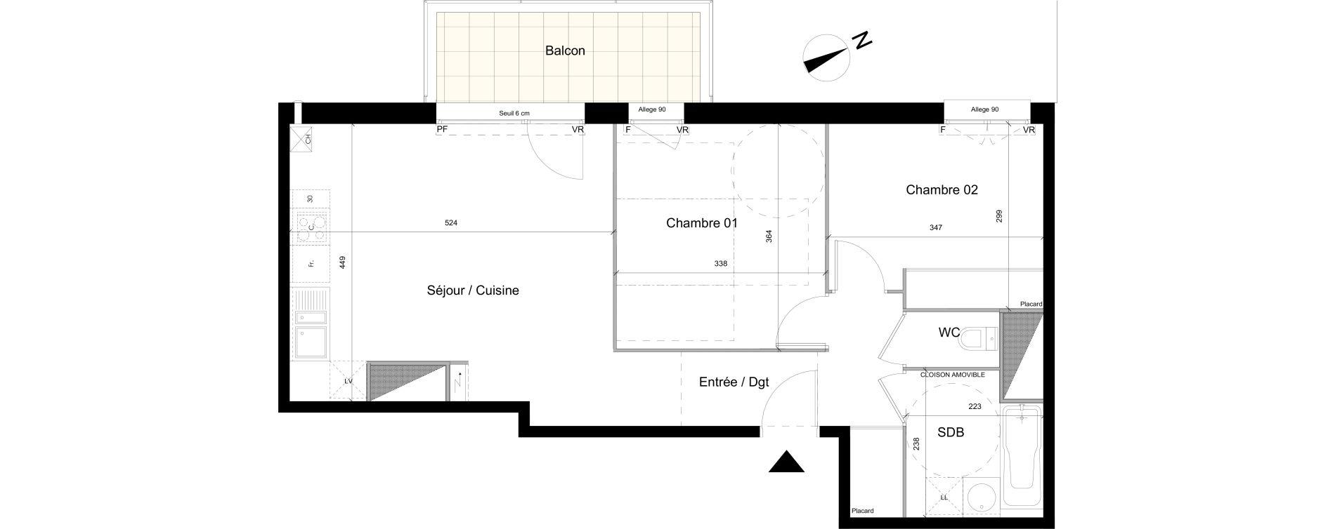 Appartement T3 de 59,56 m2 à Colomiers Centre colomiers