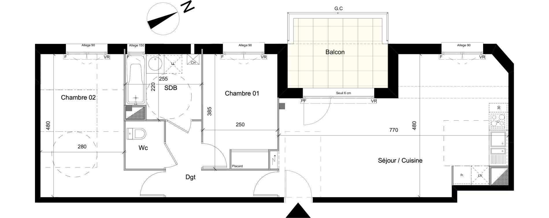 Appartement T3 de 66,37 m2 à Colomiers Centre colomiers