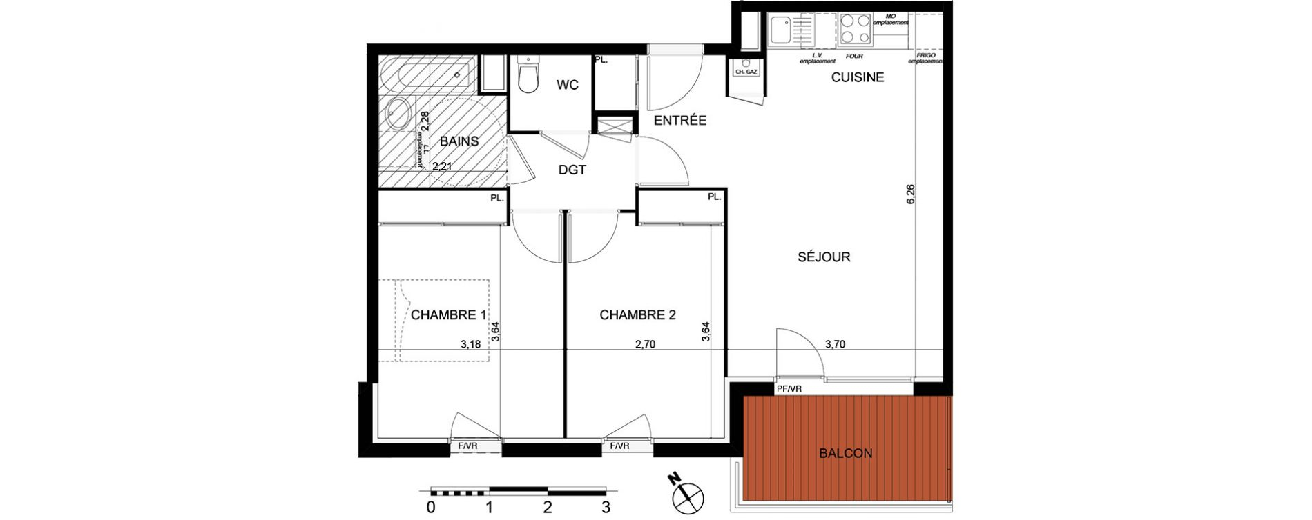 Appartement T3 de 60,09 m2 à Cugnaux Centre