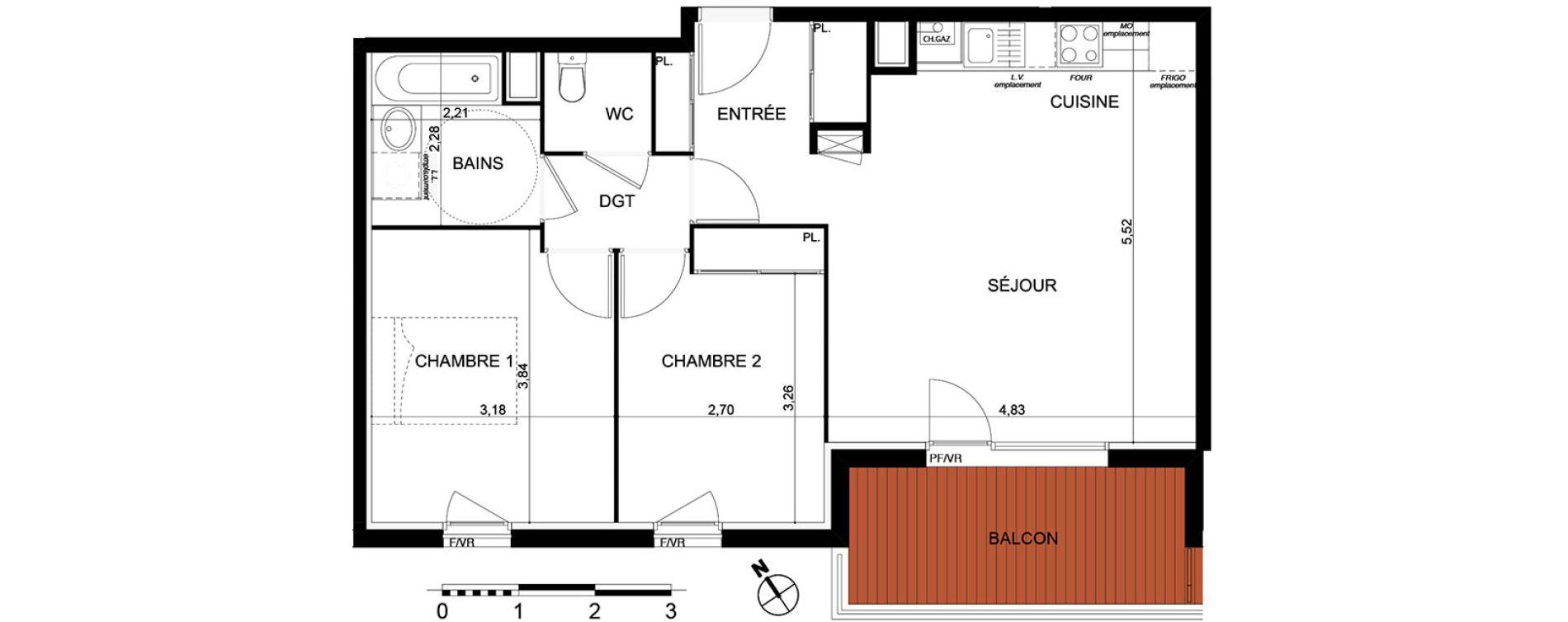Appartement T3 de 61,86 m2 à Cugnaux Centre