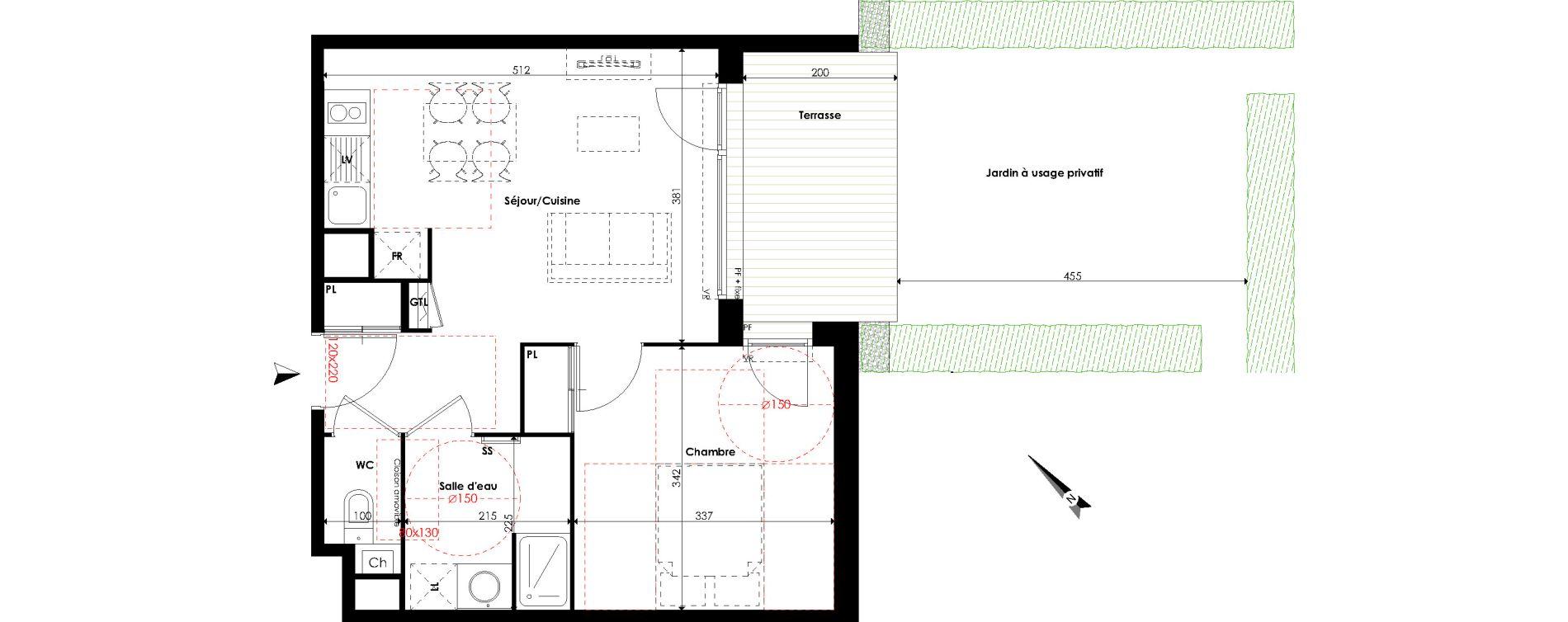Appartement T2 de 40,42 m2 à Escalquens Centre