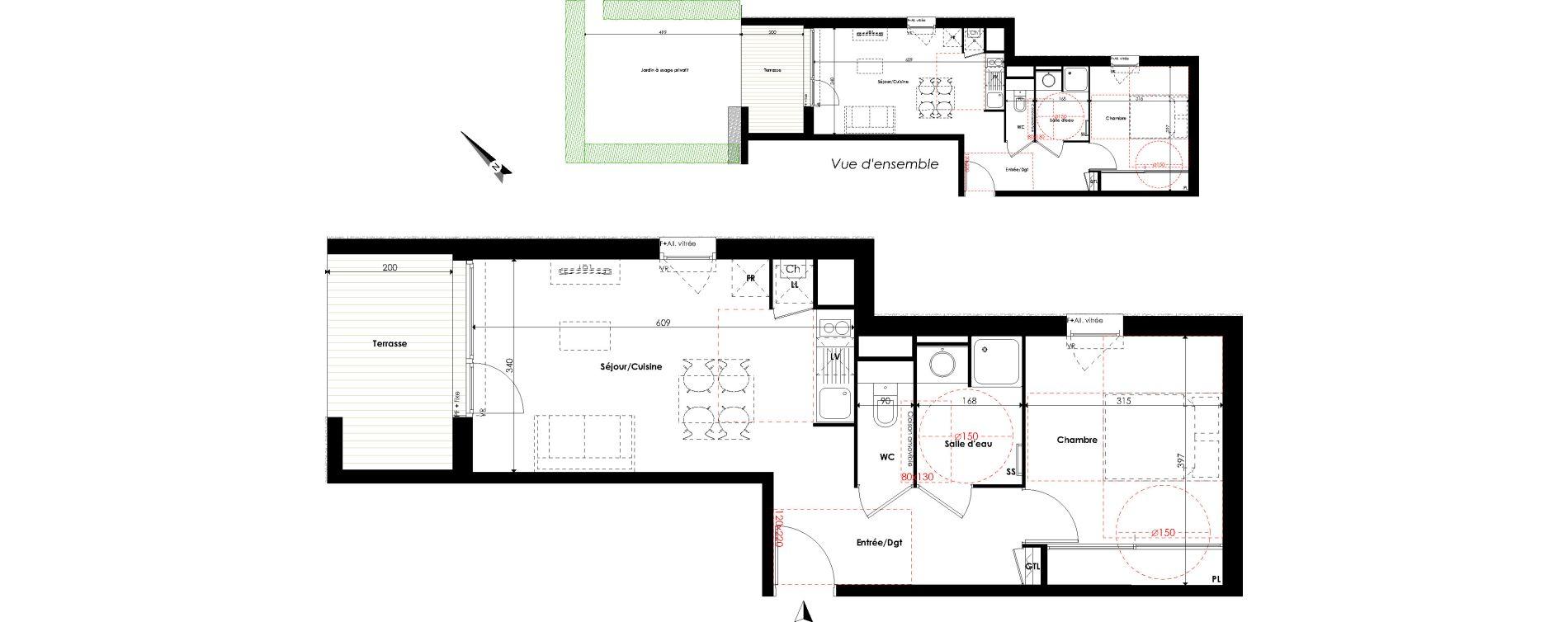 Appartement T2 de 44,44 m2 à Escalquens Centre