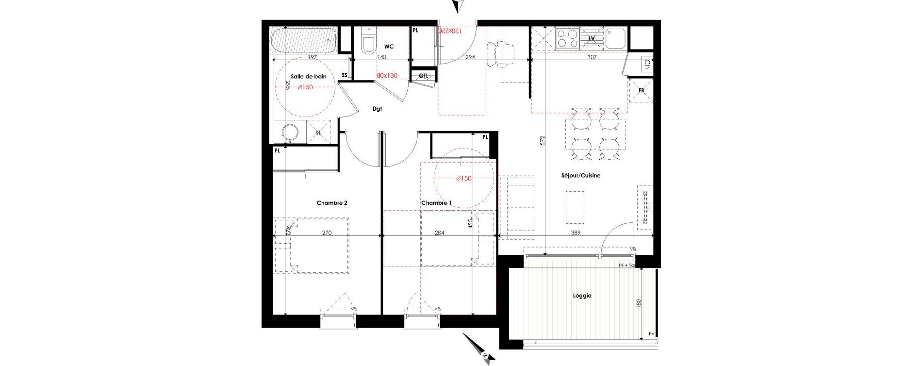 Appartement T3 de 61,00 m2 à Escalquens Centre