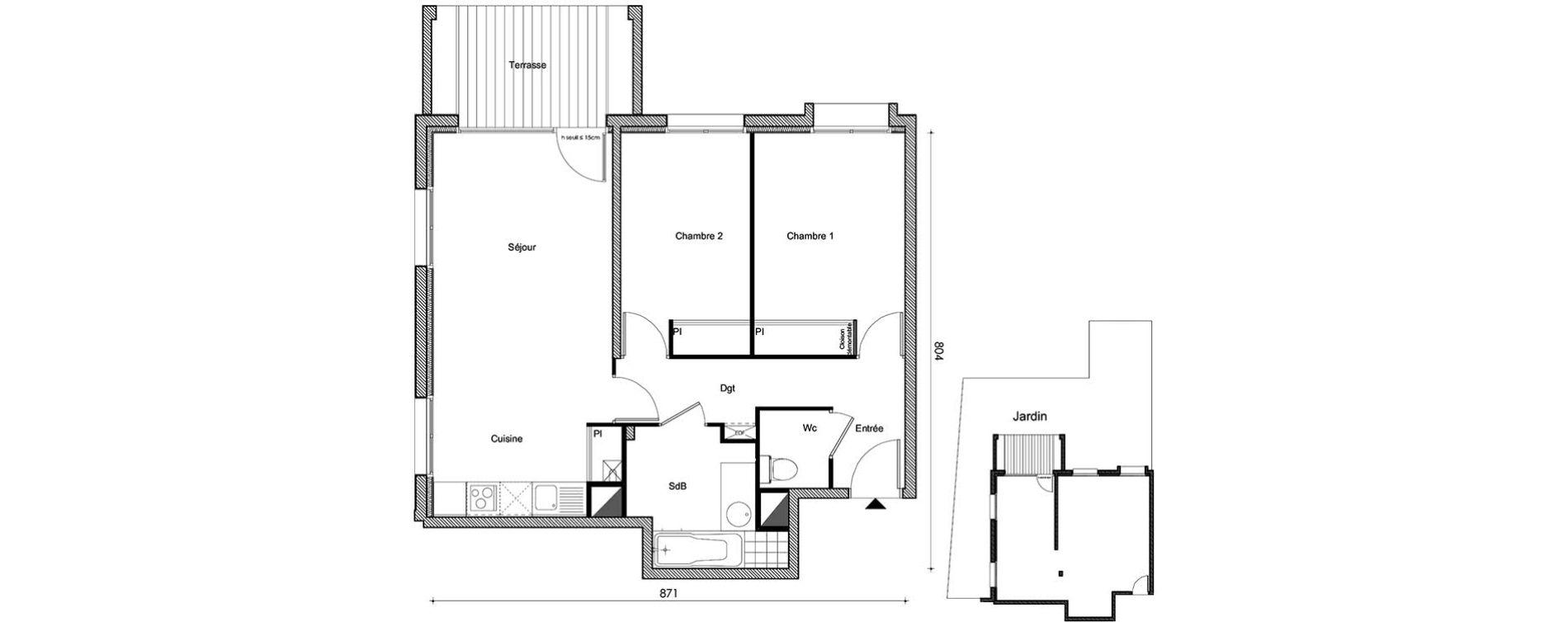 Appartement T3 de 60,21 m2 à Frouzins Centre