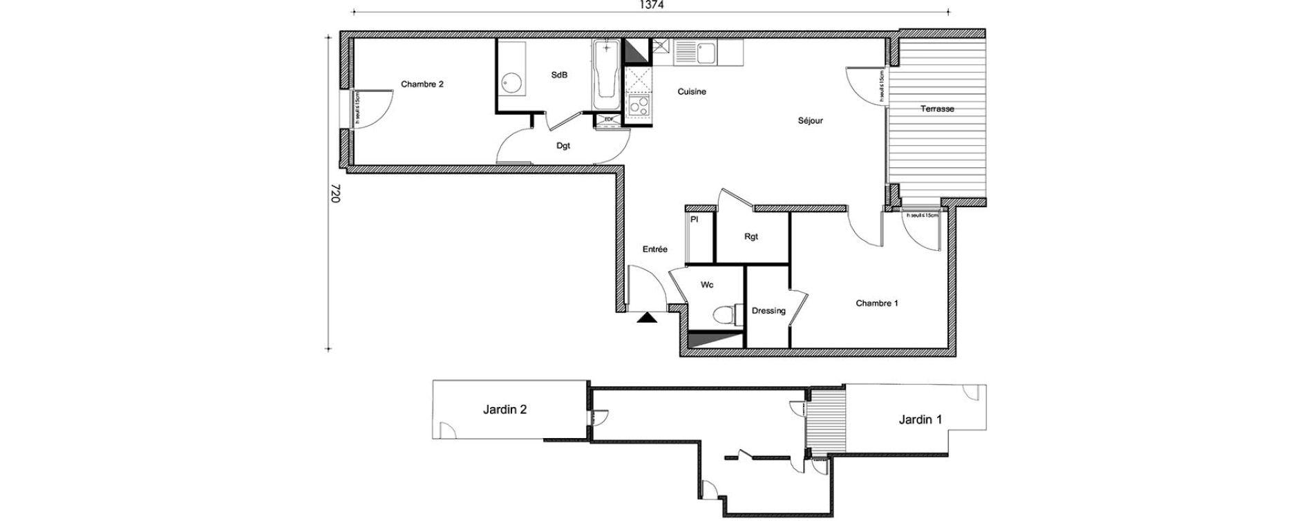 Appartement T3 de 62,22 m2 à Frouzins Centre