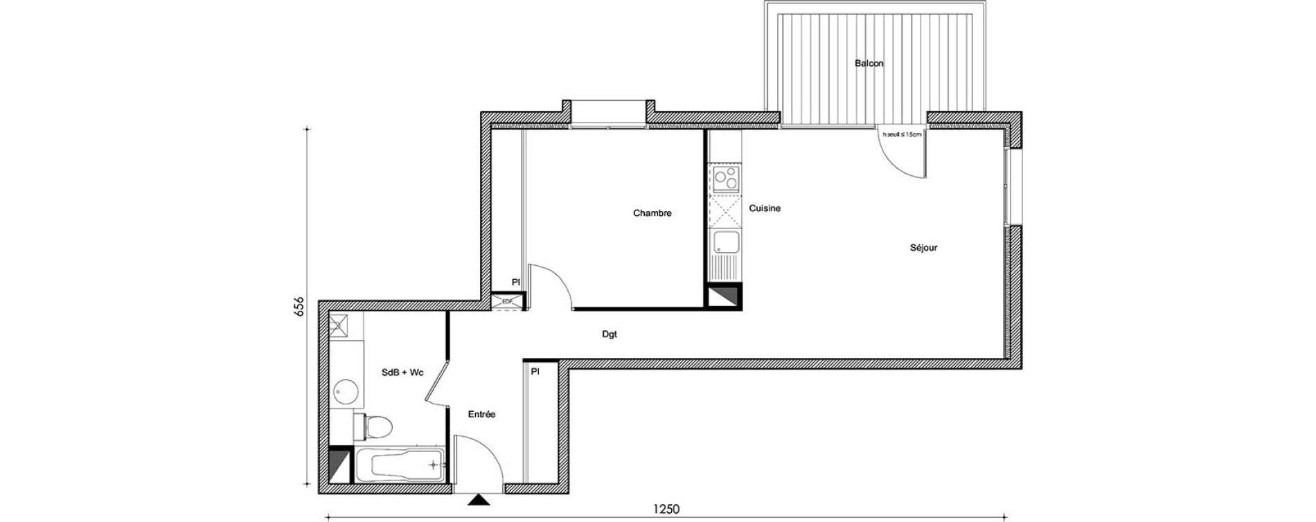 Appartement T2 de 51,51 m2 à Frouzins Centre