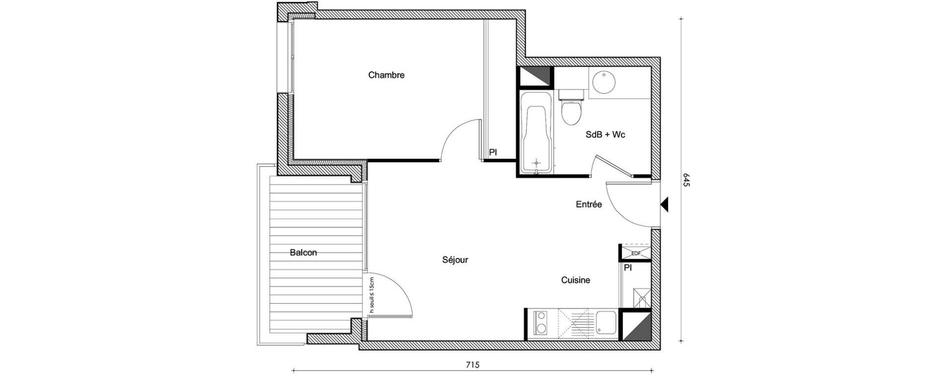 Appartement T2 de 36,80 m2 à Frouzins Centre