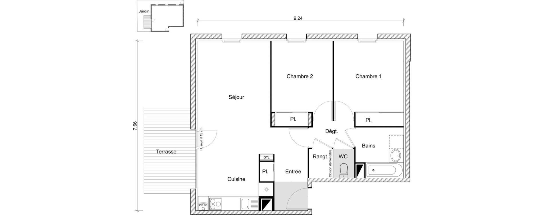 Appartement T3 de 61,72 m2 à Labarthe-Sur-Lèze Centre