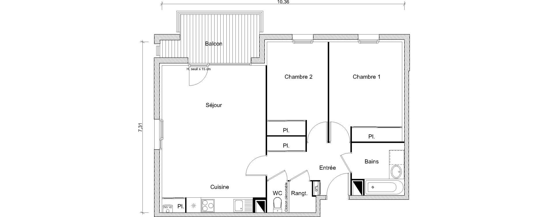 Appartement T3 de 65,45 m2 à Labarthe-Sur-Lèze Centre
