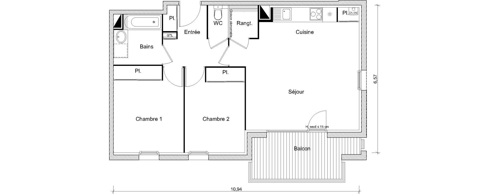 Appartement T3 de 62,85 m2 à Labarthe-Sur-Lèze Centre
