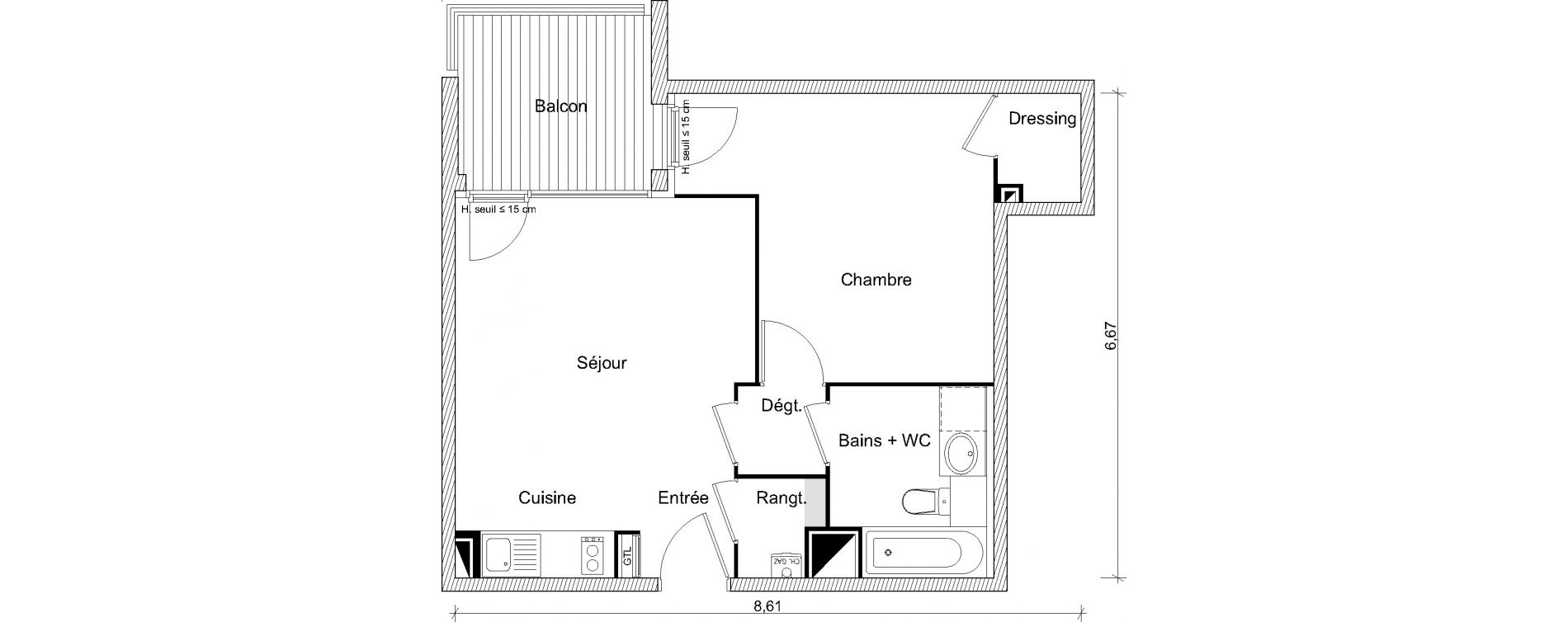 Appartement T2 de 44,79 m2 à Labarthe-Sur-Lèze Centre