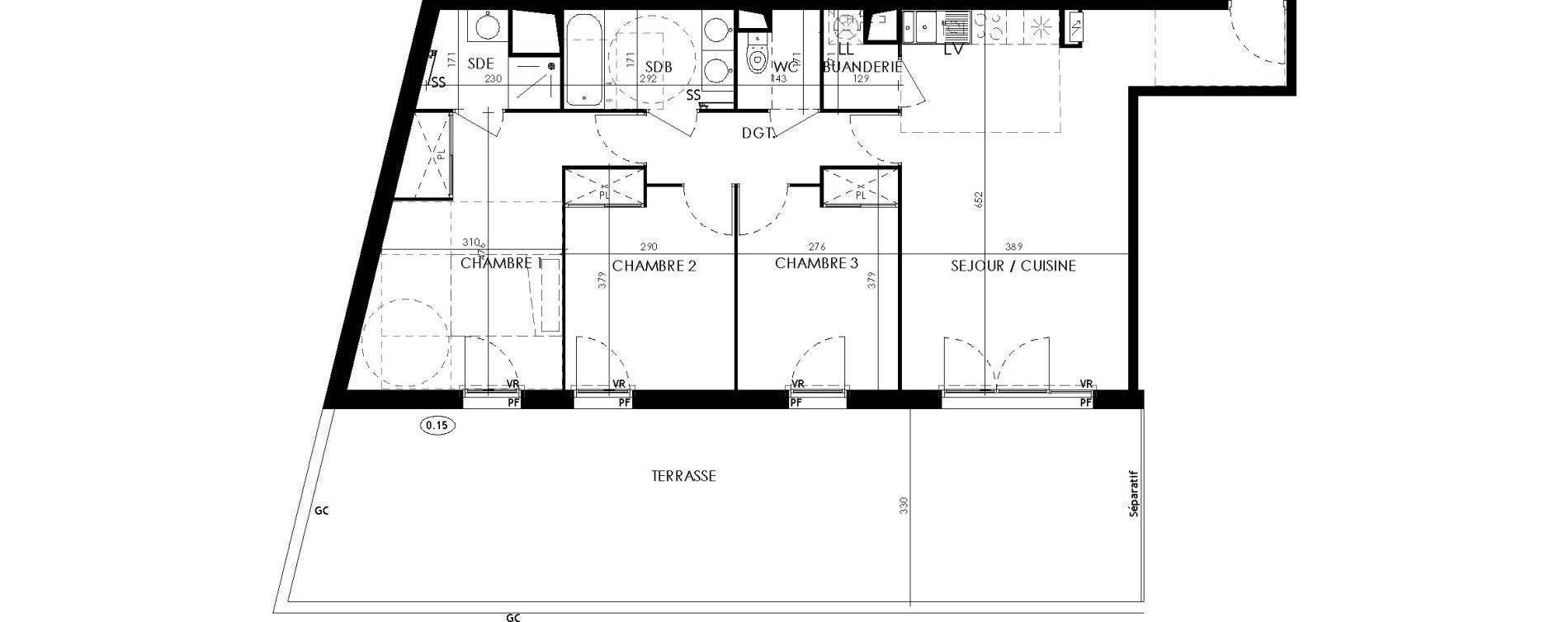 Appartement T4 de 82,30 m2 à L'Union Centre