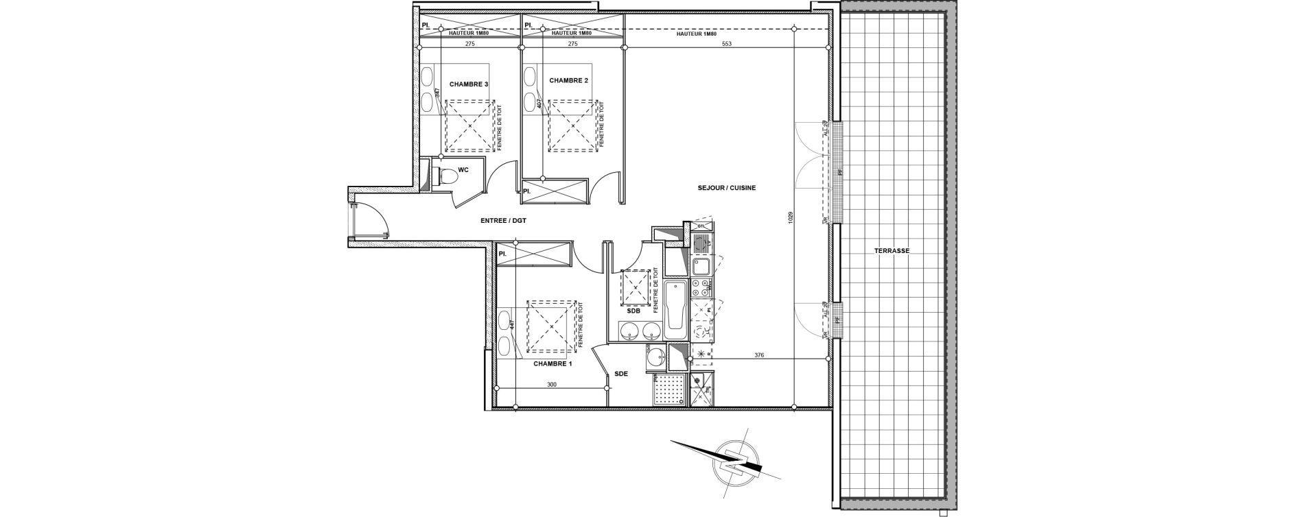 Appartement T4 de 103,50 m2 à L'Union Les acacias