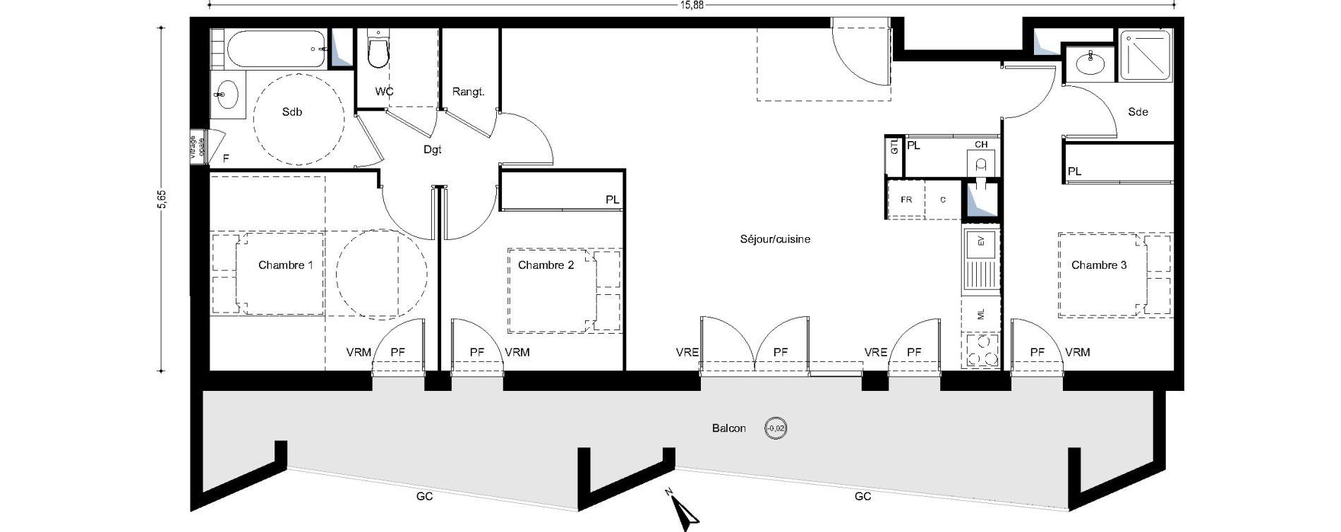 Appartement T4 de 85,17 m2 à L'Union Centre