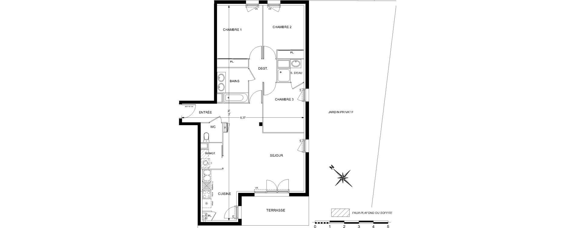 Appartement T4 de 85,74 m2 à L'Union Centre