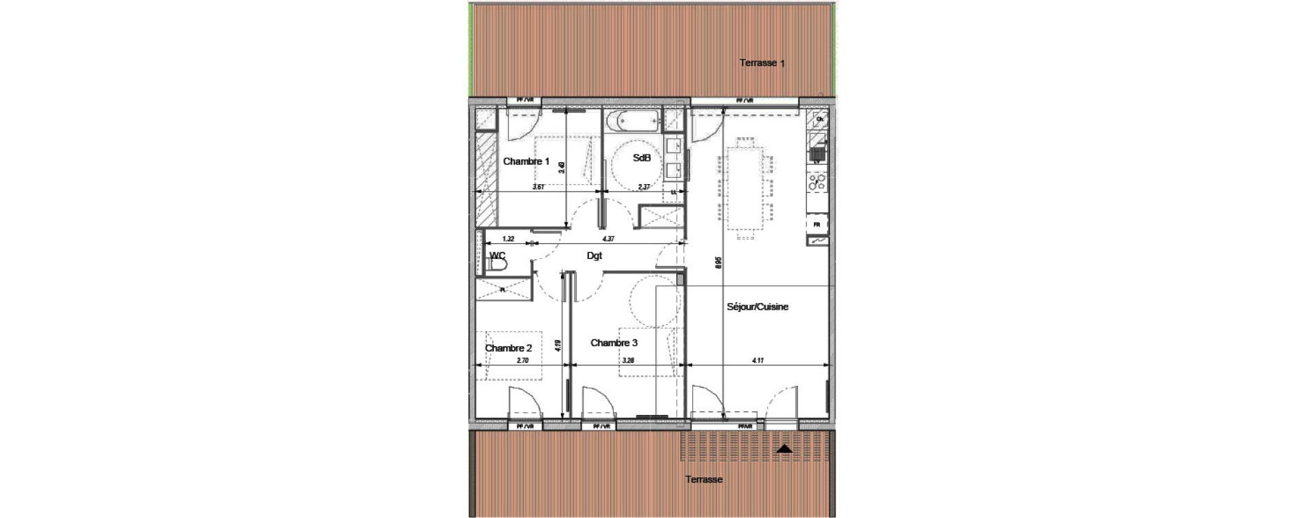 Appartement T4 de 87,20 m2 à Montrabé Centre