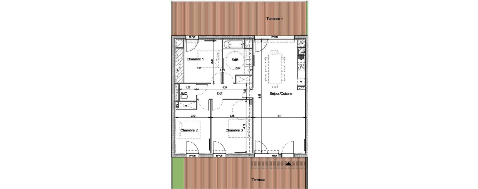 Appartement T4 de 87,02 m2 à Montrabé Centre