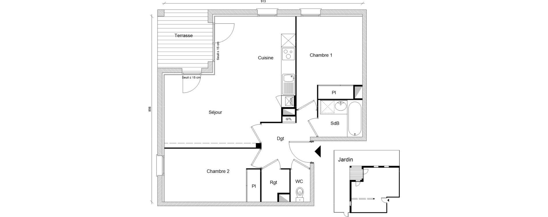 Appartement T3 de 62,45 m2 à Montrabé Centre