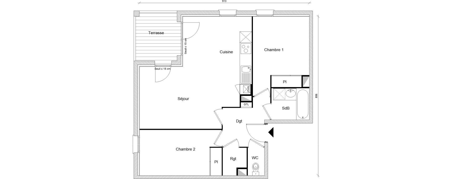 Appartement T3 de 62,49 m2 à Montrabé Centre