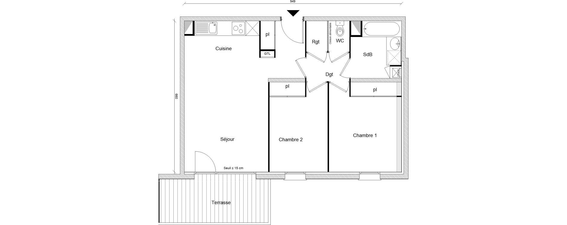 Appartement T3 de 60,06 m2 à Montrabé Centre