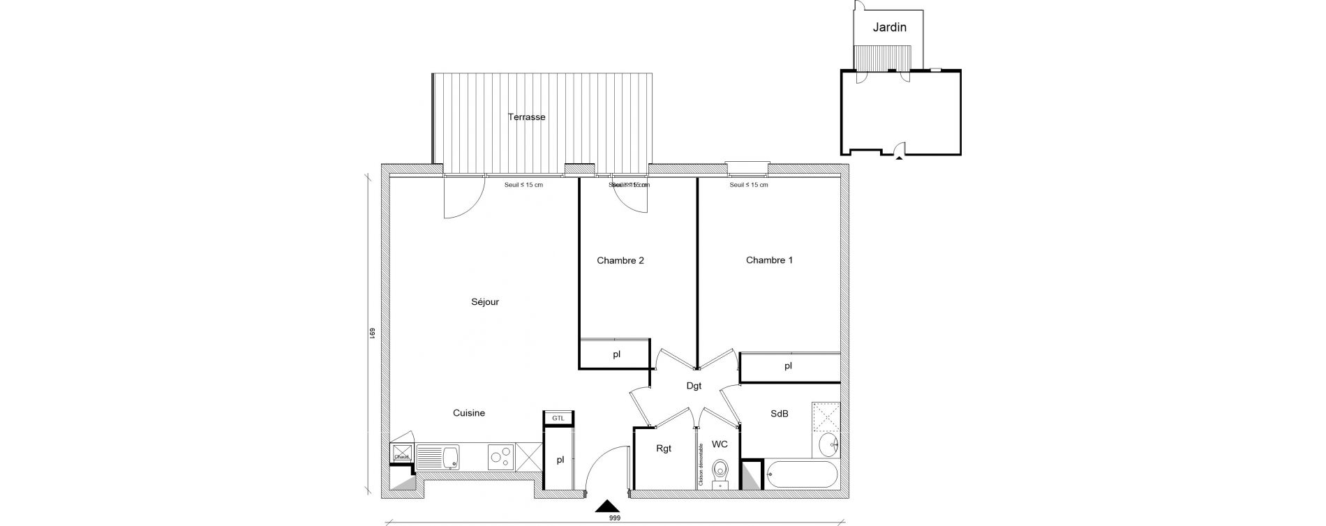 Appartement T3 de 65,73 m2 à Montrabé Centre