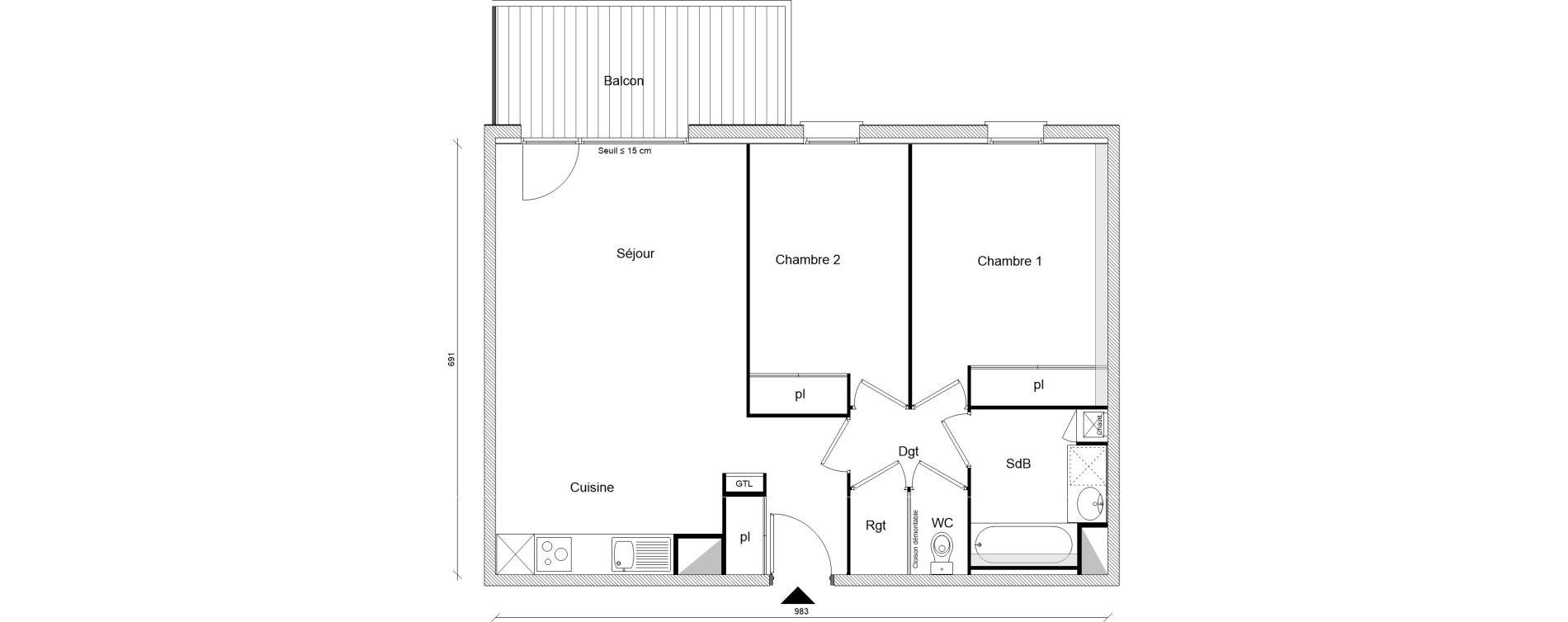 Appartement T3 de 65,25 m2 à Montrabé Centre