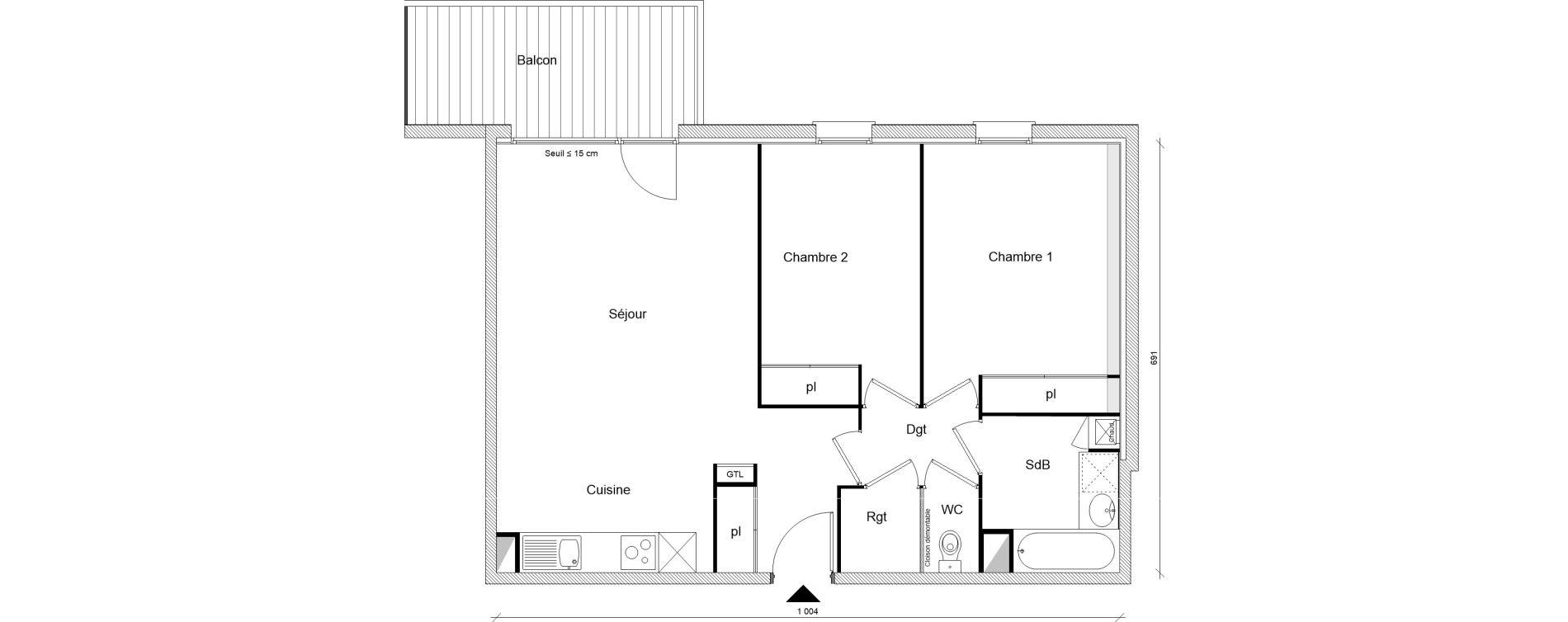 Appartement T3 de 67,19 m2 à Montrabé Centre