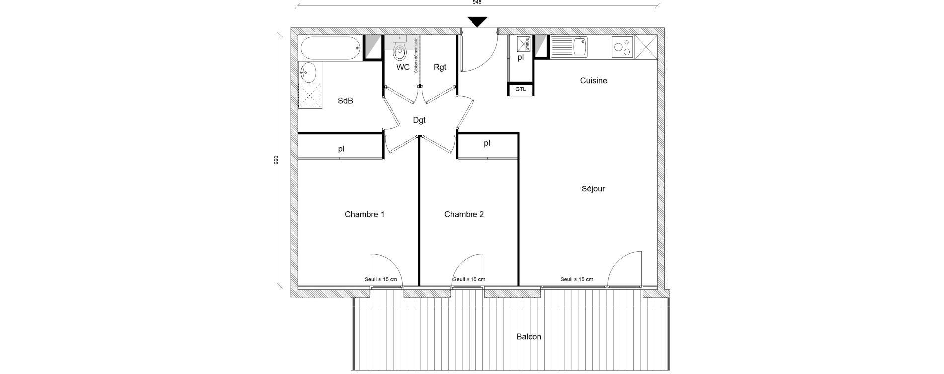 Appartement T3 de 60,26 m2 à Montrabé Centre
