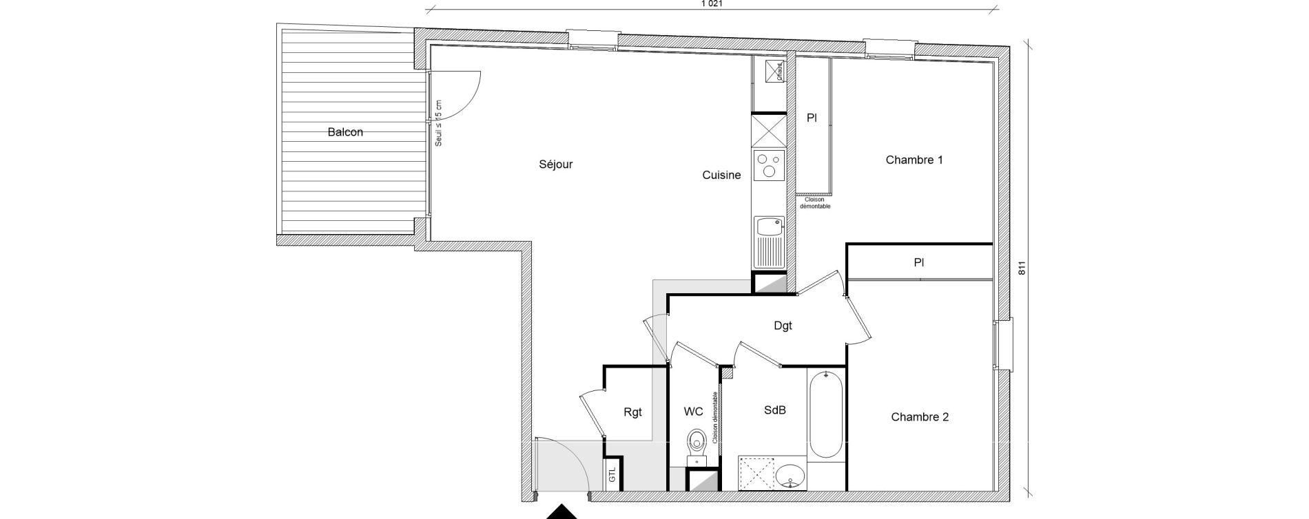 Appartement T3 de 70,24 m2 à Montrabé Centre