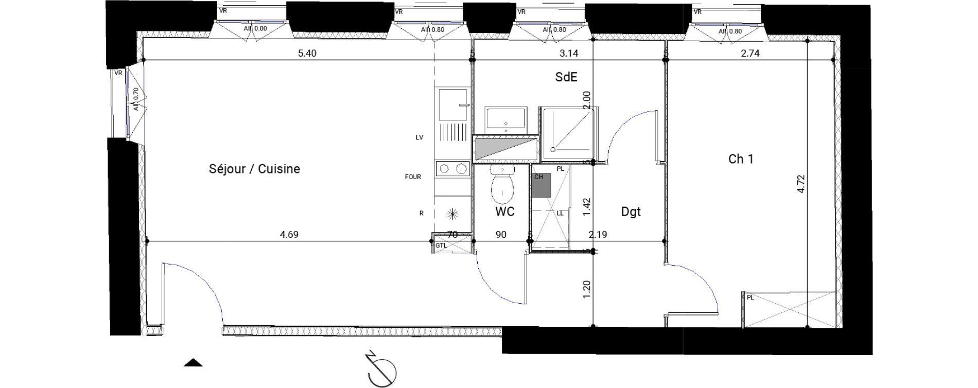 Appartement T2 de 53,77 m2 à Montrabé Centre