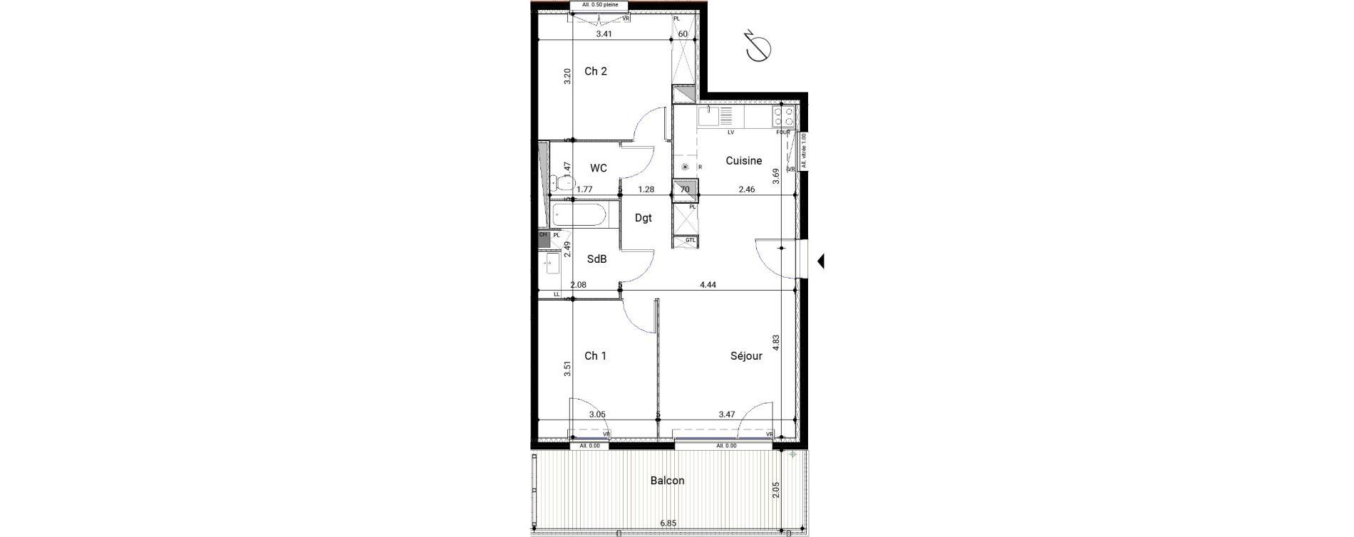 Appartement T3 de 62,69 m2 à Montrabé Centre