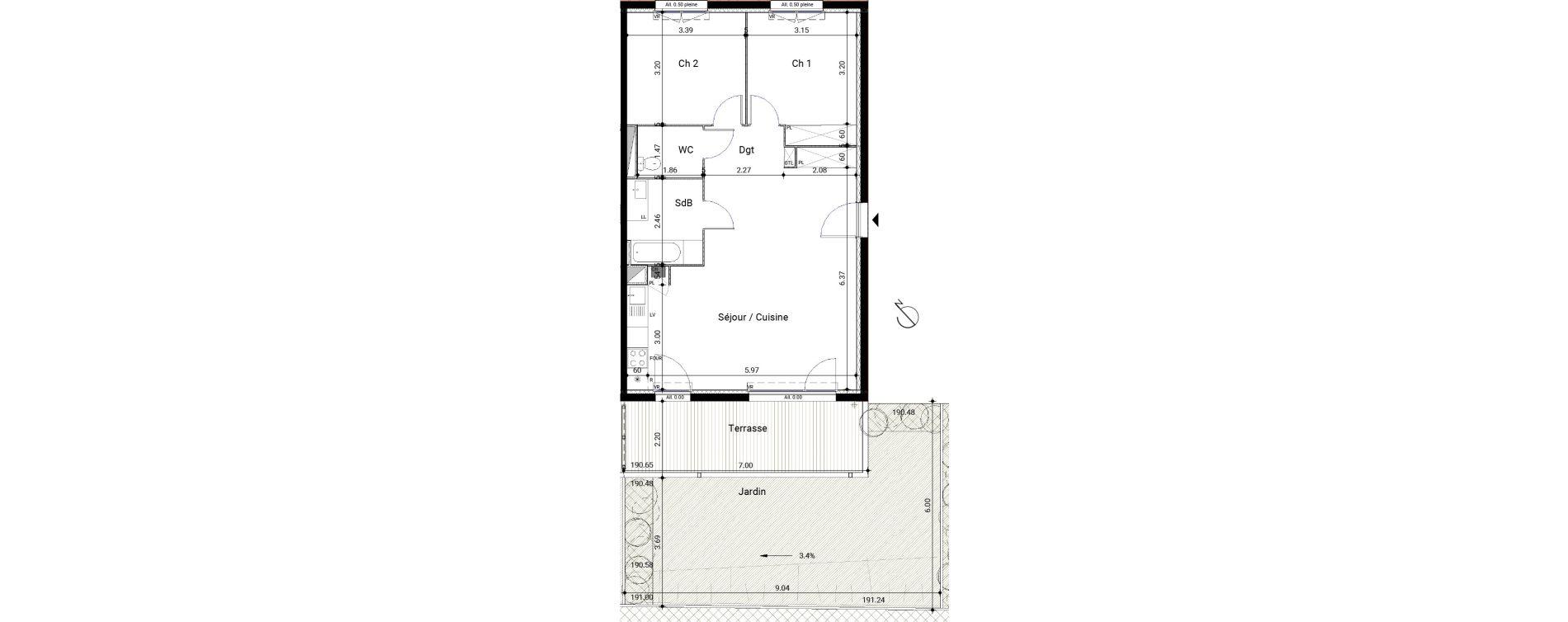 Appartement T3 de 69,22 m2 à Montrabé Centre