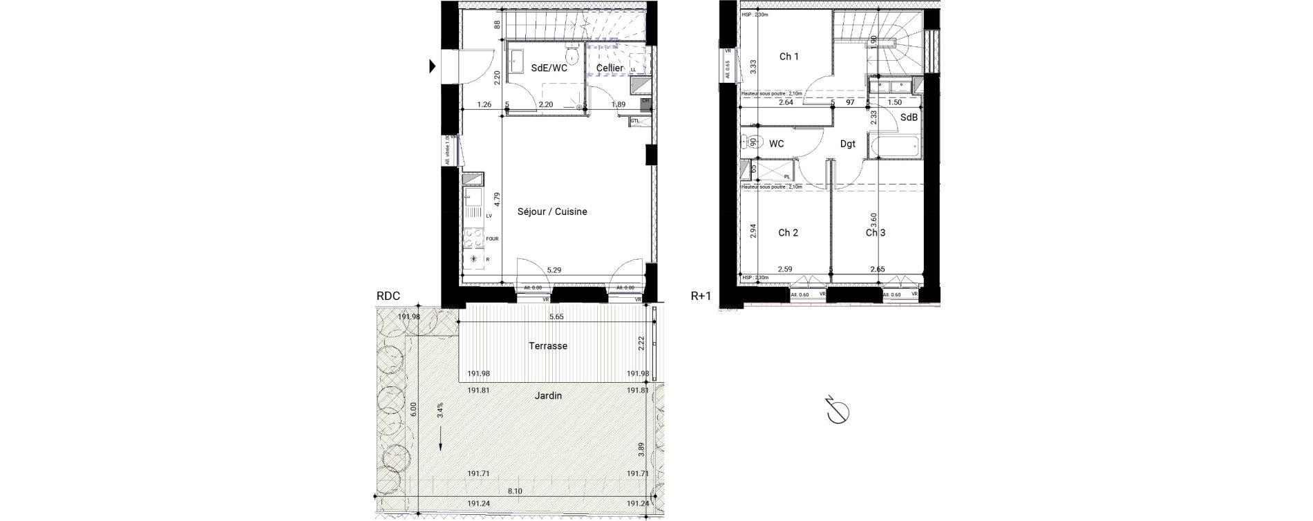 Appartement T4 de 74,61 m2 à Montrabé Centre