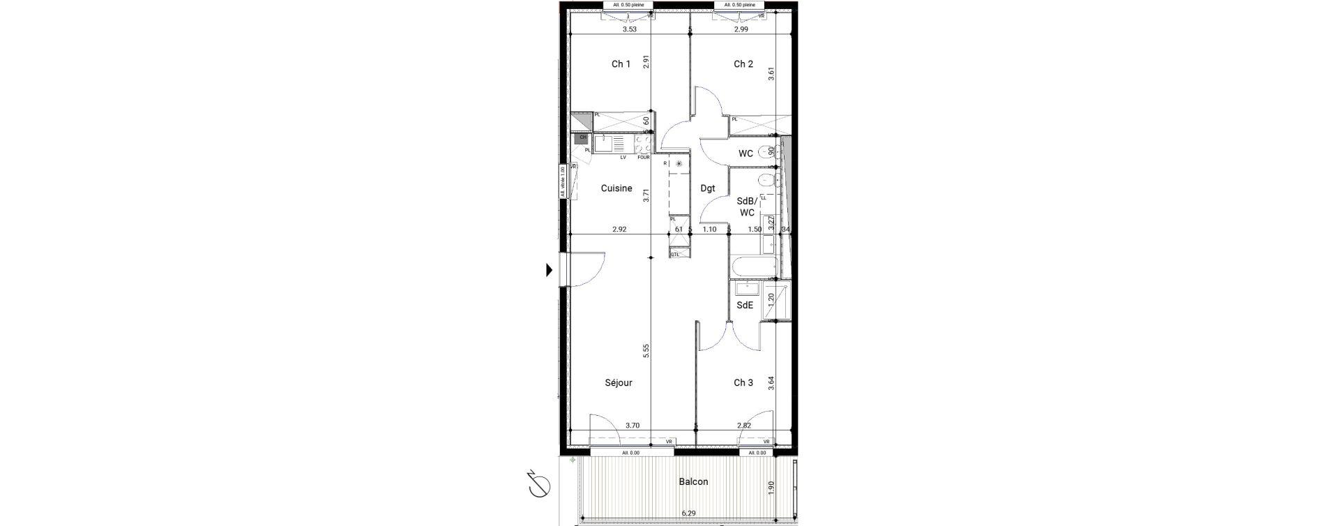 Appartement T4 de 80,73 m2 à Montrabé Centre