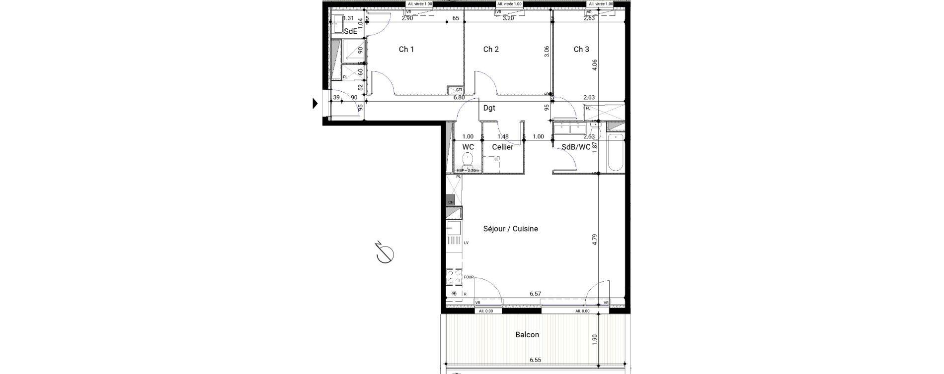 Appartement T4 de 84,61 m2 à Montrabé Centre