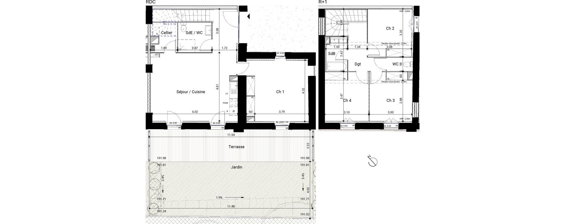 Appartement T5 de 104,86 m2 à Montrabé Centre