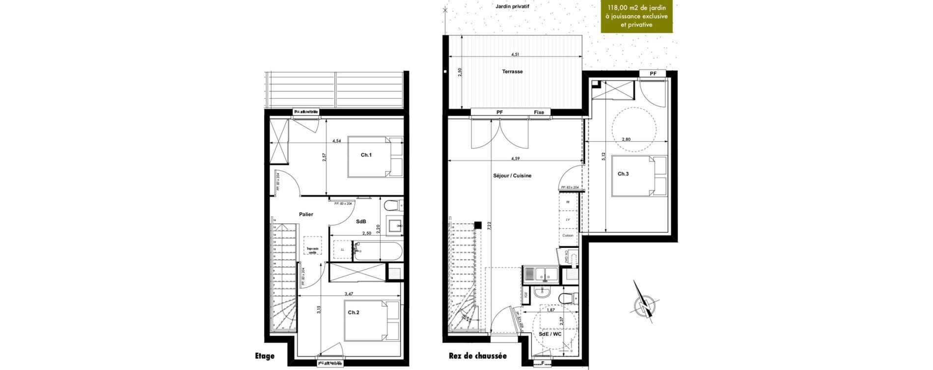 Duplex T4 de 75,09 m2 à Montrabé Centre