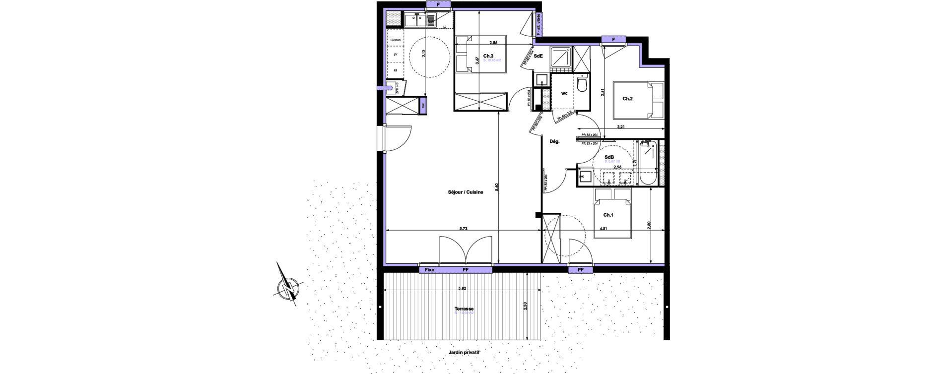 Appartement T4 de 85,35 m2 à Montrabé Centre