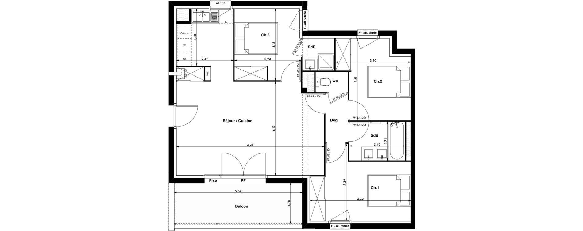 Appartement T4 de 73,90 m2 à Montrabé Centre